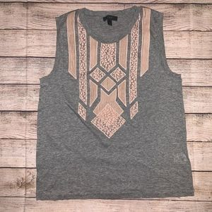 J. Crew Lace Gray Top Size S